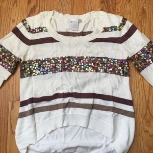 White Stripped Sweater with Sequin